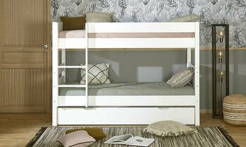 Pack lit superposé Écrin Blanc 90x200 + tiroir lit + 3 matelas