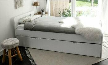 lit gigogne 90x190 blanc collection lemand. Black Bedroom Furniture Sets. Home Design Ideas