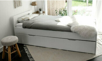 lit gigogne avec matelas 90x190 blanc lemand. Black Bedroom Furniture Sets. Home Design Ideas