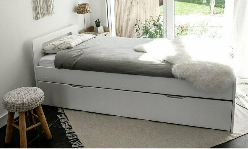 lit gigogne 90x200 lin avec ses 2 matelas collection lemand. Black Bedroom Furniture Sets. Home Design Ideas
