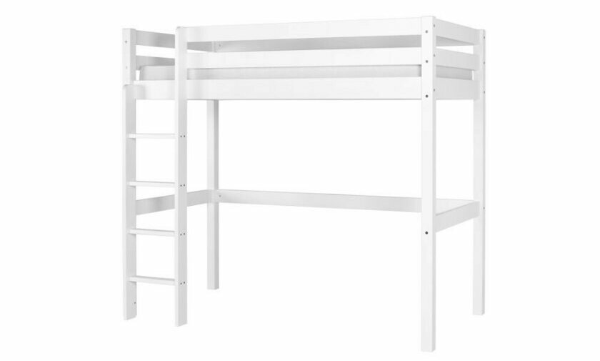lit mezzanine 90x190 blanc ted pour adulte et enfant. Black Bedroom Furniture Sets. Home Design Ideas
