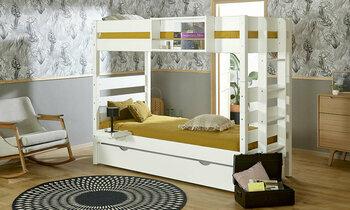 Pack lit superposé Alto Naturel 90x200 + tiroir lit + 3 matelas