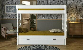 Pack lit superposé Alto Blanc 90x200 + tiroir lit + 3 matelas