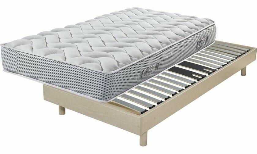 ensemble matelas sommier decokit chene grise par ebac. Black Bedroom Furniture Sets. Home Design Ideas