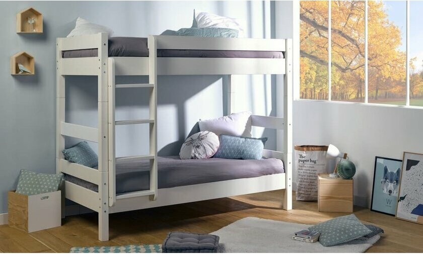 lit superpos gris 90x190 iris en bois massif. Black Bedroom Furniture Sets. Home Design Ideas