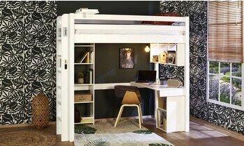 Lit mezzanine Abel blanc 90x190