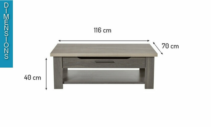 Dimensions table basse Toscane